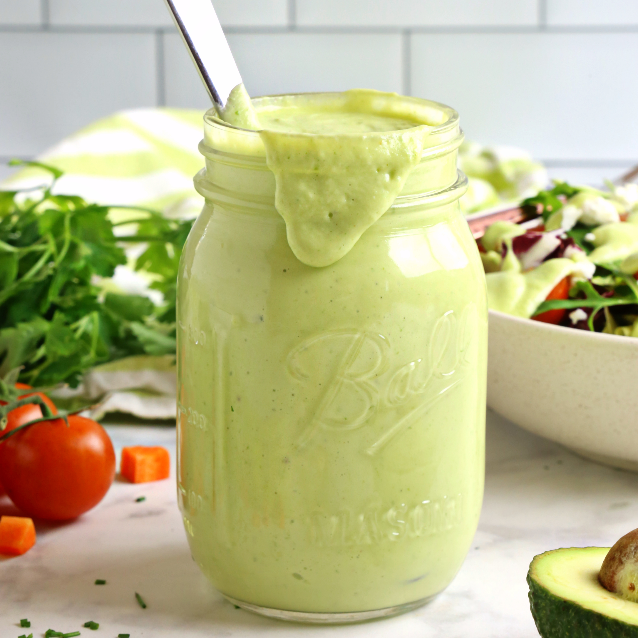 Healthy Creamy Avocado Ranch Salad Dressing