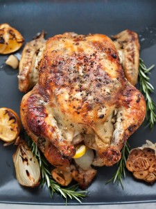 Oven Roasted Chicken with Lemon Rosemary Garlic Butter
